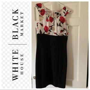 White House black market partially floral dress